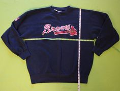 VIntage Atlanta Braves Sweatshirt Sz L Green Lee Sport Crew Neck Pullover Navy #LeeSport #Sweatshirt