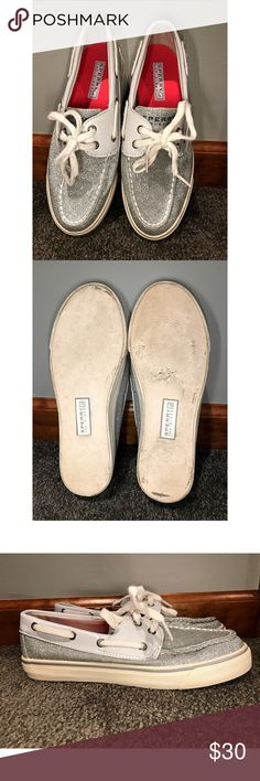 Sperry Top-Sider Silver Glitter Boat Shoes Gently worn but in good condition! Please keep I kind they do show signs of wear! Some of the marks as depicted might be able to be cleaned off, but I have not tried. They would look great pair with white or blue denim for a preppy look! Sperry Top-Sider Shoes Flats & Loafers