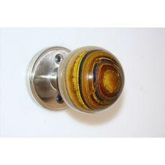 $126 Myterra Gemstone Door Knob Banded Tiger Eye Satin Nickel 2 3/8 Inch Diameter DK.PL60.BTEY.015 - French Door Knobs at Knobdeco