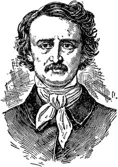 Edgar Allan Poe -- (1809-1849) Famous poet and story writer best known for The Raven, Annabel Lee, The Fall of the House of Usher, The Masque of the Red Death, and The Tell-Tale Heart. - Source: Ellsworth D. Foster ed. The American Educator (vol. 6) (Chicago, IL: Ralph Durham Company, 1921) -- Courtesy the private collection of Roy Winkelman