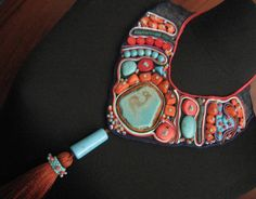 soutache collar with turquoise and coral by incim on Etsy, $185.00