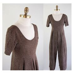 Slouchy Brown Dotted Rayon Jumpsuit // 80s by winsomeandwayward, $35.00