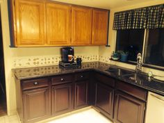 Painting Kitchen Cabinets with Gel Stain. Fresh Painting Kitchen Cabinets with Gel Stain. Upcycled Kitchen Cabinets, Restaining Kitchen Cabinets, Staining Oak Cabinets, Honey Oak Cabinets, Mdf Cabinets, Stained Kitchen Cabinets, Kitchen Cabinets Decor, Kitchen Cabinet Colors, Cabinet Decor