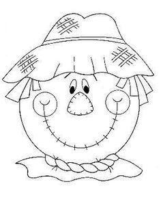 Halloween Infantil, Moldes Halloween, Adornos Halloween, Manualidades Halloween, Fall Coloring Pages, Halloween Coloring Pages, Coloring Books, Scarecrow Face, Scarecrow Crafts