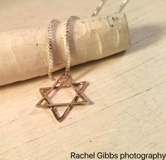 Solid Silver Star of David on a beautiful sterling silver chain. Sand Casted silver Star of David on an elegant simple silver chain. by ARPJewellery on Etsy