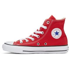 Converse Red Classic Chuck Taylor All Star OX High-Top Sneakers (218415 PYG) ❤ liked on Polyvore featuring shoes, sneakers, red, high top shoes, red high top shoes, red canvas sneakers, red high tops and red trainers