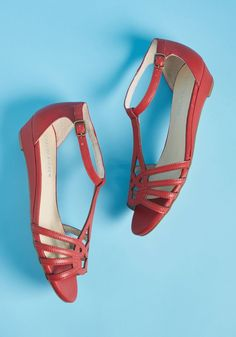 Chelsea Crew Wanna Prance With Somebody Sandal in Red - Feel the heat as you skip down the sunny boardwalk, clad in these deep red sandals by Chelsea Crew. Flaunting intertwining straps and low wedge heels, this versatile, leather-lined pair - a ModCloth exclusive - brightens your day long after the sun begins to fade!