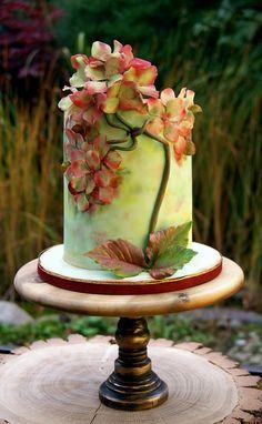 Hydrangea in autumnal colors - Cake by Katarzynka