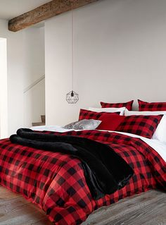 Hunter check duvet cover set in 2019 home decor подушки Plaid Bedroom, Bedroom Red, Master Bedroom, Bedroom Decor, Bedroom Ideas, Bedroom Themes, Master Suite, Bedding Sets Online, Luxury Bedding Sets