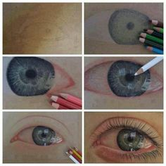 Eye Sketch with Colored Pencils~ Pencil Art, Pencil Drawings, Realistic Eye Drawing, Drawing Eyes, Eye Sketch, Eye Art, Drawing Techniques, Drawing Process, Drawing Skills