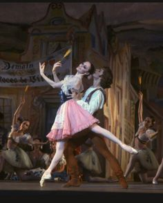 "New York City Ballet production of ""Coppelia""; scene from Act 1 with Patricia McBride as Swanilda and Mikhail Baryshnikov as Franz, choreography by George Balanchine and Alexandra Danilova after Marius Petipa (Saratoga)"