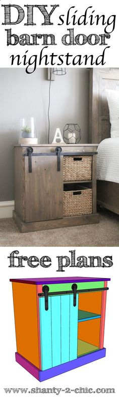DIY Sliding Barn Door Nightstand plans and how-to video! Learn how to build this nightstand and the $20 DIY barn door hardware. Easy to customize and perfect for so many places in your home! We love barn doors and love fining unique ways to incorporate them on furniture pieces. Visit www.shanty-2-chic... for the free plans and how-to video.