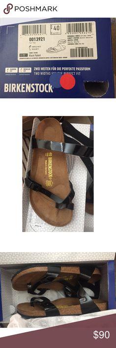 Selling this Birkenstocks Yara black patent in size 40. on Poshmark! My username is: kateisrealgreat. #shopmycloset #poshmark #fashion #shopping #style #forsale #Birkenstock #Shoes