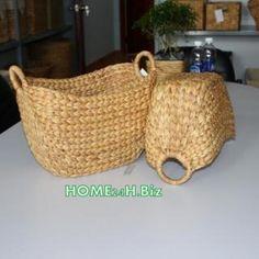 Home24h co,.ltd: Water Hyacinth Small curved Storage Baskets Home24h / Cheap Basket - Home24h.biz