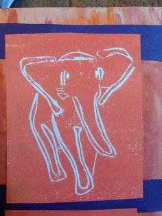 Lino print, elephant