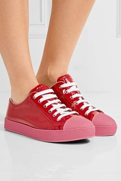 Prada - Patent-leather Sneakers - Red - IT38.5