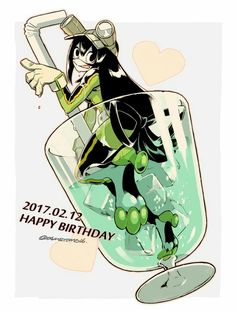 Happy Birthday Tsuyu, text, Asui Tsuyu, glass, water; My Hero Academia