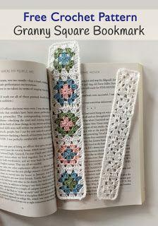 Granny Square Bookmark FREE crochet pattern, Little Monkeys Design, © 2016 Angela Plunkett.                                                                                                                                                                                 More