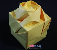 Rose gift box origami, the connection is there tutorial Luo