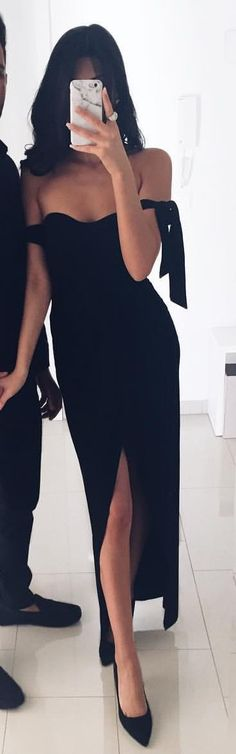 #summer #outfits  Black Off The Shoulder Maxi Dress + Black Pumps