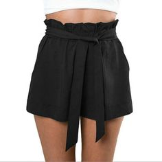 - Material: Polyester - 3 Colors: White, Black, Khaki - Pattern: Solid - Occasion: Casual, Beach - Decor: Front Pockets - Waist Type: Elastic - Fashion Women Casual Shorts Design Patchwork Plus Size H