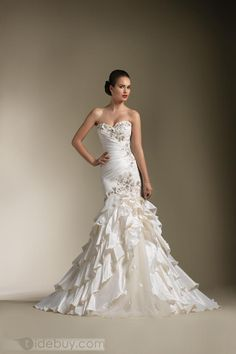 Amazing Trumpet/Mermaid Sweetheart Floor-length Chapel Appliques & Tiered Wedding Dresses