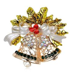 $2.51 Christmas Bell and Bow Brooch