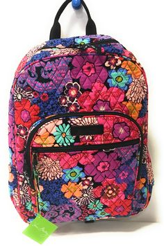 Vera Bradley Campus Backpack with Solid Color Interior (Updated Version) ( Floral Fiesta with Black Interior) 21e1f1a3b5