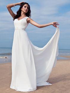 Lan Ting Sheath/Column Plus Sizes Wedding Dress - Ivory Floor-length V-neck Chiffon - USD $99.99