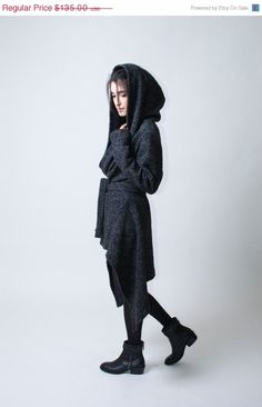 15% SALE - HELLO MARCH Spring Coat with a Hood / Asymmetrical Sweater Hoody / Winter Coat / Oversize Designer Coat / Asymmetric Coat / - Mod on Etsy, $114.75