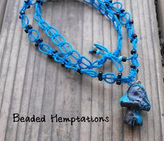 Handmade Polymer Clay Mushroom Hemp Necklace by BeadedHemptations, $14.99