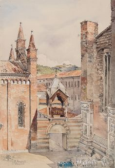 TINLING Rev. George Douglas (1844-1880) 'S.Anastasia, Verona' from the two towers. Watercolour. Signed, inscribed and dated '16th May, 1878'. 10x7 inches.