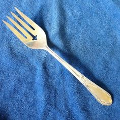Wm A Rogers A1 Plus Meat Fork Meadowbrook / Heather Silverplate Oneida Ltd #WmARogersOneida