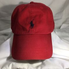 756629bb631 Polo Ralph Lauren Red Hat Cap Leather Adjustable Buckle Strap Embroidered  Pony