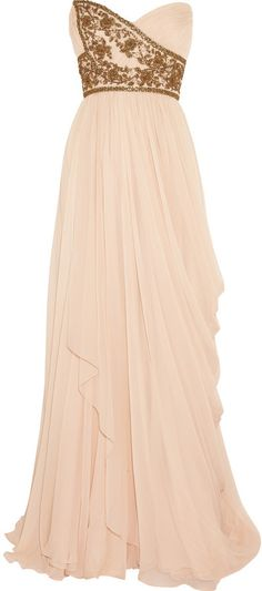 Marchesa Embellished silk-chiffon strapless gown
