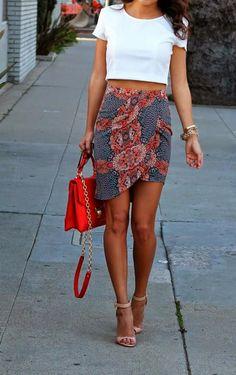 Print skirt & crop top