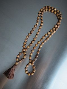 Brown Yoga Mala Mens Tassel Necklace Wooden Natural Long Tassel Necklace Brown Bead Olive Tree Wood Meditation Necklace Mens Beaded Necklace