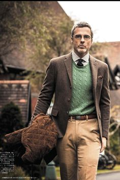 ivy-league-style:  Ivy Fall layering: brown glen plaid sport coat, mint green cable crew, khaki chino's, quilted jacket