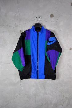 men's vintage, 1980's - 1990's NIKE AIR color clock windbreaker track jacket, medium
