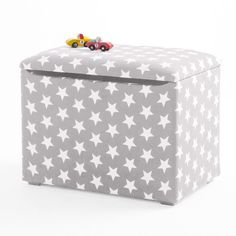 Our upholstered, ottoman toy box will help you stem the tide of toys in your home