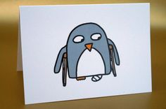 Get well card Funny penguin 'Propped up' by penguinparadeshop