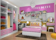Beauty Your Interior Room with Hello Kitty Theme Furniture: Cute Small Bedroom Interior Design With Hello Kitty Furniture Set Ideas As Well Pendant Lamp On The High Ceiling And Dark Gray Rug Under The Bed Including Wooden Floor And Small Dresser Corner ~ justsoakit.com Interior design Inspiration