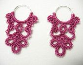 Fuchsia Beaded 'Filigree' with Silver Hoops