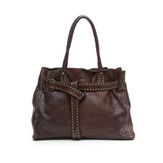 Shopping-bag-with-belt-decorated-with-studs-in-dark-brown-leather Shoulder-Bags