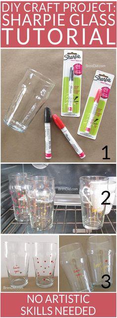 Easy Sharpie Glass Tutorial - make custom glasses with sharpie paint pens. Easy craft. via @brendidblog