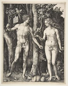Adam and Eve; Albrecht Dürer  (German, Nuremberg 1471–1528 Nuremberg)  Date: 1504 Medium: Engraving; fourth state Dimensions: 9 7/8 x 7 7/8 in. (25.1 x 20.0 cm) Classification: Prints Credit Line: Fletcher Fund, 1919 Accession Number: 19.73.1