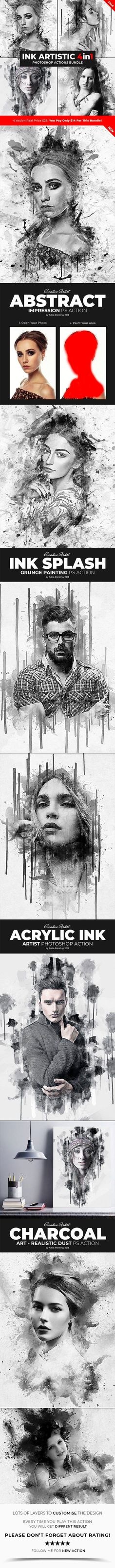 Ink Artistic - 4in1 Photoshop Actions Bundle #collection #AdobePhotoshop #PhotoEditing #photo #DesignSet #graphic #DesignCollection #GraphicRiver #effect #PhotoshopAddon #photoeffects #photoshopaction #design #sets #photoshopresource #GraphicDesign #addon #PhotoShop #photoactions #GraphicDesigner