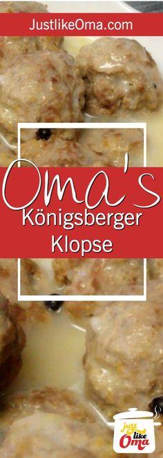 Yummy German meatballs, called Königsberger Klopse with a Hollandaise-type sauce Meatball Recipes, Meat Recipes, Gourmet Recipes, Cooking Recipes, Popular German Food, German Meat, Oktoberfest Food, Octoberfest Party, Sauce Hollandaise