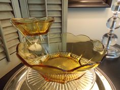 Vintage AMBER GLASS Chip and Dip Set by VintageCreativeAccen