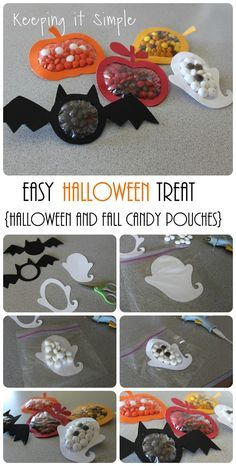 and Fall Candy Pouches Tutorial Keeping it Simple: Halloween and Fall Candy Pouches Tutorial. Perfect treats for Halloween parties.Keeping it Simple: Halloween and Fall Candy Pouches Tutorial. Perfect treats for Halloween parties. Dulceros Halloween, Bonbon Halloween, Halloween Party Snacks, Halloween Treats For Kids, Halloween Goodies, Halloween Birthday, Halloween Activities, Holidays Halloween, Halloween Tutorial